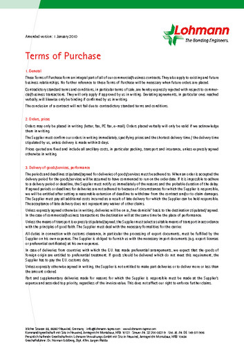 Terms of Purchase Lohmann GmbH & Co.KG
